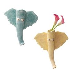 ELEPHANT WALL VASES DO WITH BUTTERFLIES!