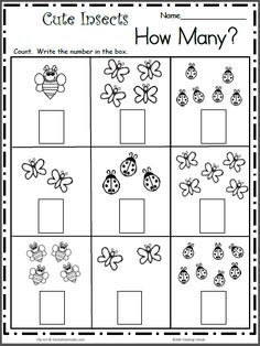 math Count the Cute Insects - Free Math Worksheet for kindergarten and preschool. Get ready for kindergarten by practicing counting and writing numbers up to 7 with this free worksheet. Pre K Math Worksheets, Counting Worksheets For Kindergarten, Printable Preschool Worksheets, Kids Math Worksheets, Math Activities, Math For Kindergarten, Free Printable, Seasons Worksheets, Subtraction Kindergarten