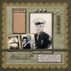 Always Remember...wonderful heritage military page with newspaper clip, medals and charm.