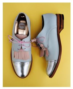 ABO silver & blue with pink fringes wingtips.