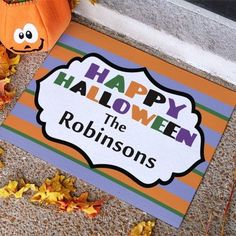 Personalized Happy Halloween Stripes Doormat