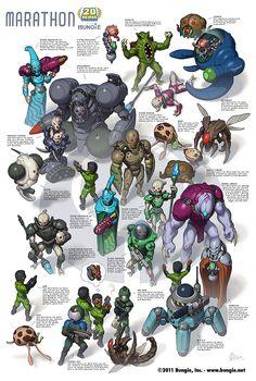 Excellent Sci-Fi Alien Character Design -Marathon poster by Arne - ©2011 Bungie, Inc