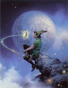 Peter Pan and Tinkerbell Art by Tsuneo Sanda Peter Pan Disney, Peter Pan 3, Peter Pan And Tinkerbell, Disney Kunst, Arte Disney, Disney Magic, Disney Art, Disney Pixar, Disney Characters