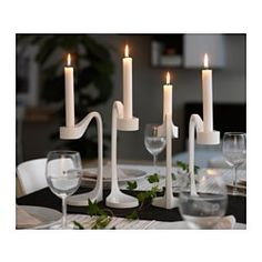 IKEA - JÄTTEVIKTIG, Kerzenständer 2 St, Ein dekorativer Blickfang in jedem Raum - ob einzeln eingesetzt oder in einer Gruppe arrangiert.Durch den herausnehmbaren Einsatz kann das Produkt für Teelichter oder Kerzen genutzt werden.