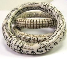 Faux Ivory Polymer Clay Bangle Bracelets by DivaDesigns1, via Flickr