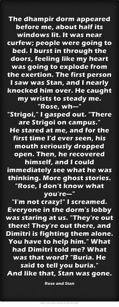 Vampire Academy Quotes | Rose Hathaway and Stan