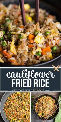"""Cauliflower Fried Rice is an easy to make a tasty, low carb meal packed with vitamins and flavor! This """"rice"""" is so good you won't even think you're eating healthy! Minced raw cauliflower is the… More"""