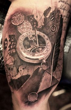 Looking for a meaningful tattoo idea? compass tattoo may just be the perfect idea for you. checkout these late meaningful compass tattoo designs & try them Map Tattoos, Time Tattoos, Tattoo You, Body Art Tattoos, Sleeve Tattoos, Tatoos, Elbow Tattoos, Great Tattoos, Beautiful Tattoos