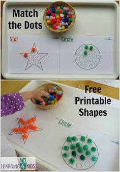 Match the Dots Free Printable Shapes #preschool #kidscrafts #efl (repinned by Super Simple Songs)