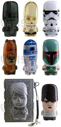 Star Wars USB Flash Drives- i have the Boba Fett one and use it almost everyday. Usb Drive, Usb Flash Drive, Figuras Star Wars, Gadget Gifts, Cool Gadgets, For Stars, Nerdy, Geek Stuff, Darth Vader