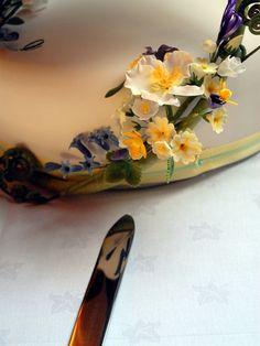 Dog rose, blue bells, celandines and primroses.