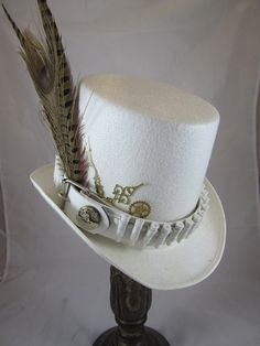 Hey, I found this really awesome Etsy listing at https://www.etsy.com/listing/195960132/steampunk-mens-top-hat-white-w-bullet