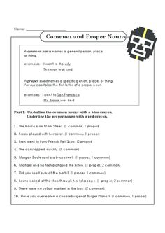 Make the differences between common and proper nouns common knowledge for your little learner! Proper Nouns Worksheet, Punctuation Worksheets, English Grammar Tenses, English Grammar Worksheets, English Language Learning, Language Arts, Types Of Nouns, Common And Proper Nouns, Grammar Practice
