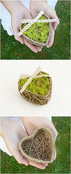 Rope Wedding Ring Bearer Pillow, Wedding Ring Box, Engagement Ring Box, Wedding Pillow With Moss, Ring Holder, Ring Bearer Box, Ring Box