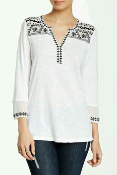 Image of Lucky Brand Kiana Embroidered Tunic Dress Neck Designs, Blouse Designs, Embroidered Tunic, Mode Hijab, Short Tops, Blouse Vintage, Embroidery Dress, Shirt Blouses, Designer Dresses