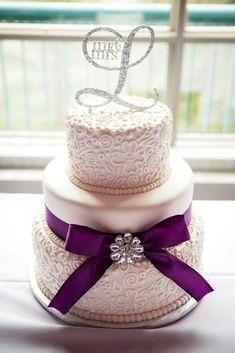Elegant purple and white three tier wedding cake - Kim Payant Photography - CalgaryBride.ca