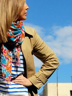 Watercolor scarf and stripes...so Spring!