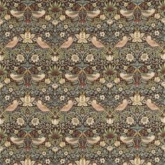 Traditional Morris & Co Upholstery Fabric   Pale Blue Strawberry Thief   Archive Collection   William Morris