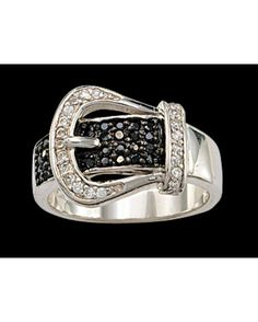 Black Crystal Buckle Set Ring i want thisss lol my ring size is 6 ;)
