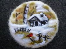 OOAK Hand Made Needle Felted Brooch 'FOREST CABIN IN WINTER' by Anne Sefton