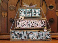 Winter  Sign, Christmas Sign, Snowflake Kisses and Winter WIshes, Winter Decor Word Blocks Sign by PunkinSeedProduction on Etsy