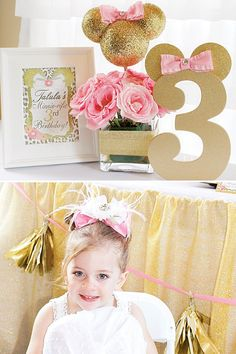 Pink and Gold Glitter Minnie Mouse Birthday Party