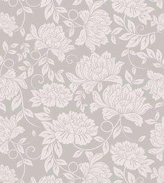 Papel de parede floral em tons cinza - Glamour 19