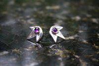Silver earrings with amethyst -Handmade in Finland-