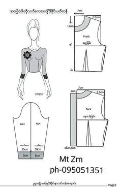 Dress Design Patterns, Skirt Patterns Sewing, Blouse Patterns, Clothing Patterns, Dress Sewing Tutorials, Sewing Basics, T Shirt Sewing Pattern, Top Pattern, Myanmar Dress Design