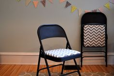 How To: Easy DIY Folding Chair Makeover Gorgeous chevron fabric folding chair faceliftLOVE! created at: The post How To: Easy DIY Folding Chair Makeover appeared first on Upholstery Ideas. Folding Chair Makeover, Folding Chair Covers, Metal Folding Chairs, Metal Chairs, Desk Makeover, Upholstery Foam, Furniture Upholstery, Diy Furniture, Upholstery Cleaning