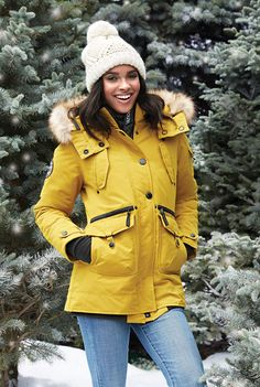 LOVE LOVE LOVE this color! #SearsWishlist  Noize® Women's Multi-Pocket Mid-Length Parka With 3-Way Hood