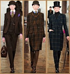 Ralph Lauren Fall 2012. don't particularly like either of these outfits specifically, but love the idea of early 20th century men's style for women.