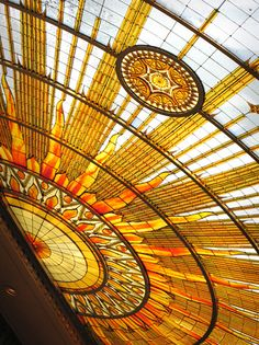 Stained glass ceiling in Buffalo City Hall, completed 1931.
