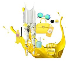 """Sunflower"" by ravenjohnston on Polyvore featuring Etro, Penny Loves Kenny, Chicwish, Salvatore Ferragamo, Kate Spade, Versace, Maybelline, Essie and Givenchy"