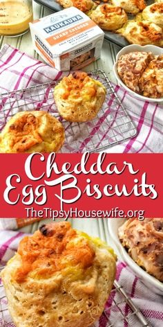 Cheddar Egg Biscuits - The Tipsy Housewife Best Breakfast Recipes, Sweet Breakfast, Brunch Recipes, Dinner Recipes, Dessert Recipes, Dessert Food, Breakfast Time, Turkey Recipes, Breakfast Ideas