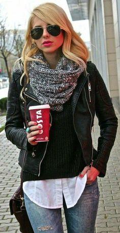 Fall fashion street style jacket scarf