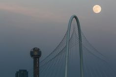 Reunion Tower, the Margaret Hunt Hill Bridge and the Supermoon of June 2013.