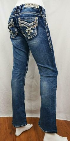 Rock Revival Codee Boot Jeans Distressed Destroyed sz 26 X 30 EUC Dark Blue Jeans, Blue Denim, Liberty Boots, Rock Revival Jeans, Jeans For Sale, Have A Great Day, Stretch Jeans, My Ebay, Jeans And Boots