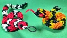 Loom Bands Snake Charm - How to Make on the Rainbow Loom Rainbow Loom Tutorials, Rainbow Loom Patterns, Rainbow Loom Creations, Rainbow Loom Bands, Rainbow Loom Charms, Rainbow Loom Bracelets, Loom Band Animals, Rainbow Loom Animals, Loom Band Charms