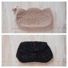 Cream or Black?! Both beaded clutches are in the shop | GracedVestige.etsy.com | #vintage
