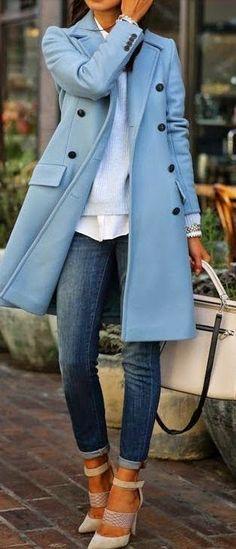 Fall street fashion blue coat