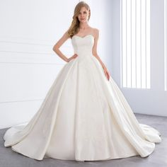 Sweetheart Satin Pearls Lace Appliques Cathedral Train Wedding Dress - Uniqistic.com