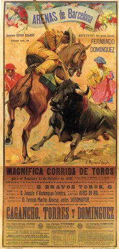 Barcelona - 1933, Plaza de toros nueva de Barcelona Autor: Anonimo. Impresión: Ortega, Valencia, Vintage Advertisements, Vintage Ads, Aragon, Horse Posters, Art Nouveau, Art Deco, Nose Art, Vintage Travel Posters, Punk
