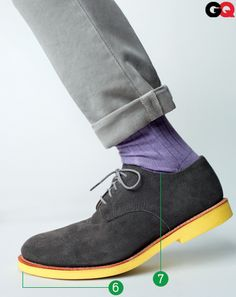 #6 Yellow sole on suede bucks  #7 Purple socks    See how they compliment vs. match? :)