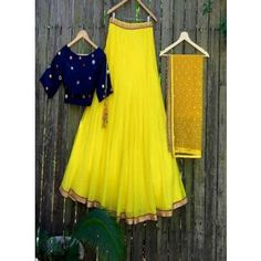 Georgette Yellow Plain Semi Stitched Lehenga - SH151