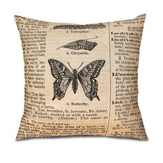 "BUTTERFLY DICTIONARY PAGE Pillow Cover- Fits 18"" pillow by OsoAndBean, $52.00. All natural fabrics, limited edition designs, all handmade in the USA! ©2014 gomodesign, inc & Oso and Bean"