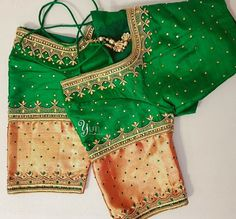 Beautiful green color designer blouse with lotus design hand embroidery thread and kundan work. For Orders and Queries reach at / Whatsapp: 04 September 2017 Hand Work Blouse Design, Pattu Saree Blouse Designs, Simple Blouse Designs, Fancy Blouse Designs, Bridal Blouse Designs, Blouse Neck Designs, Saris, Maggam Work Designs, Designer Blouse Patterns