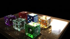 The rendered crystal gemstome set models created for the Amethyst, Aquamarine, Ruby, Sapphire, Emerald and Topaz Die.