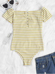 Buttoned Striped Off The Shoulder Bodysuit - Bright Yellow S Body Suit Outfits, New Outfits, Spring Outfits, Trendy Outfits, Trendy Fashion, Cute Outfits, Fashion Outfits, Cute Bodysuits, Bodysuit Fashion