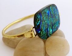 Forged Brass Bracelet with Blue Green Square by 3DGlassDesigns